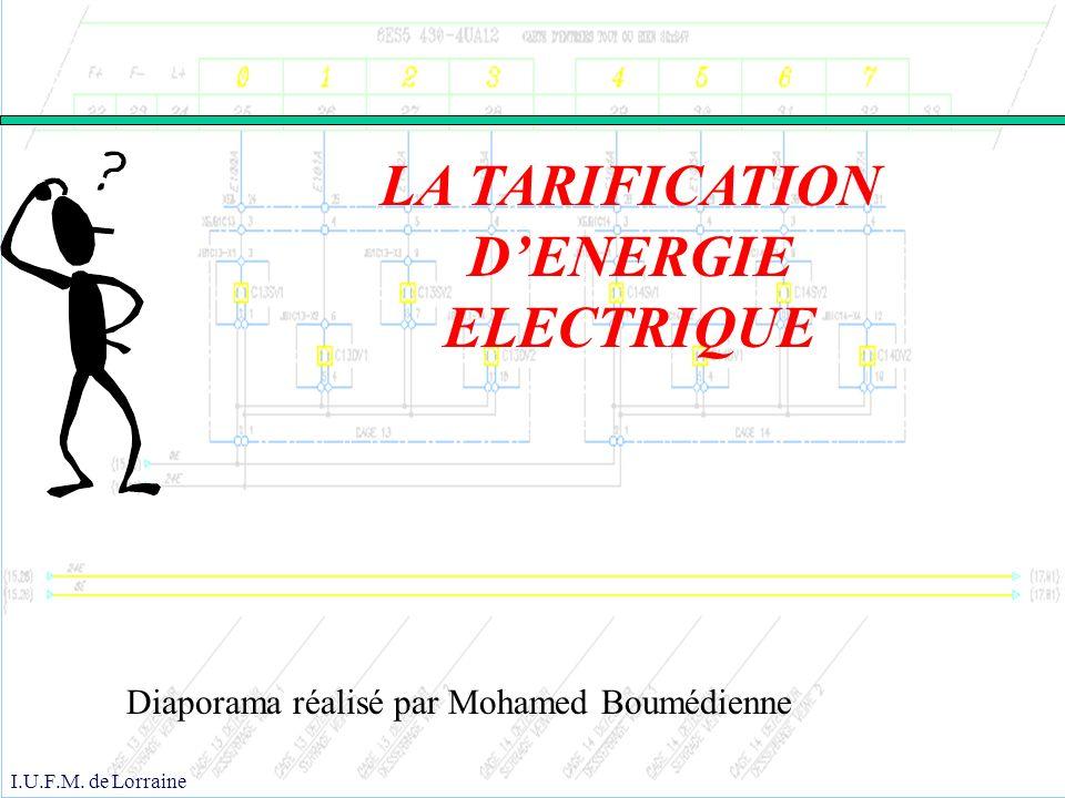 LA TARIFICATION D'ENERGIE ELECTRIQUE