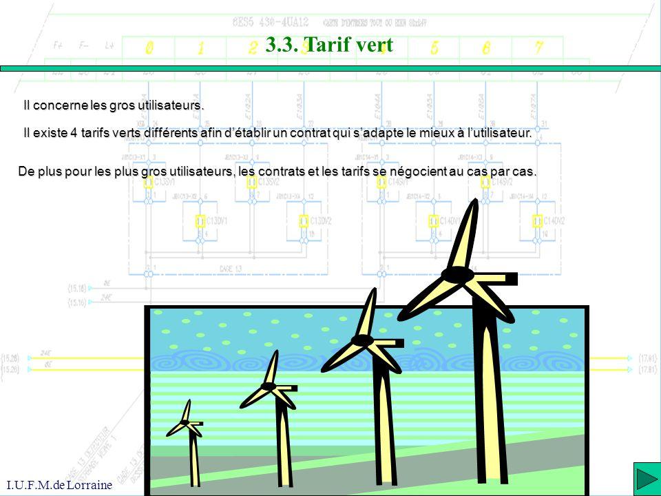 3.3. Tarif vert Il concerne les gros utilisateurs.