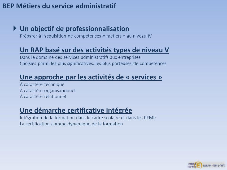BEP Métiers du service administratif