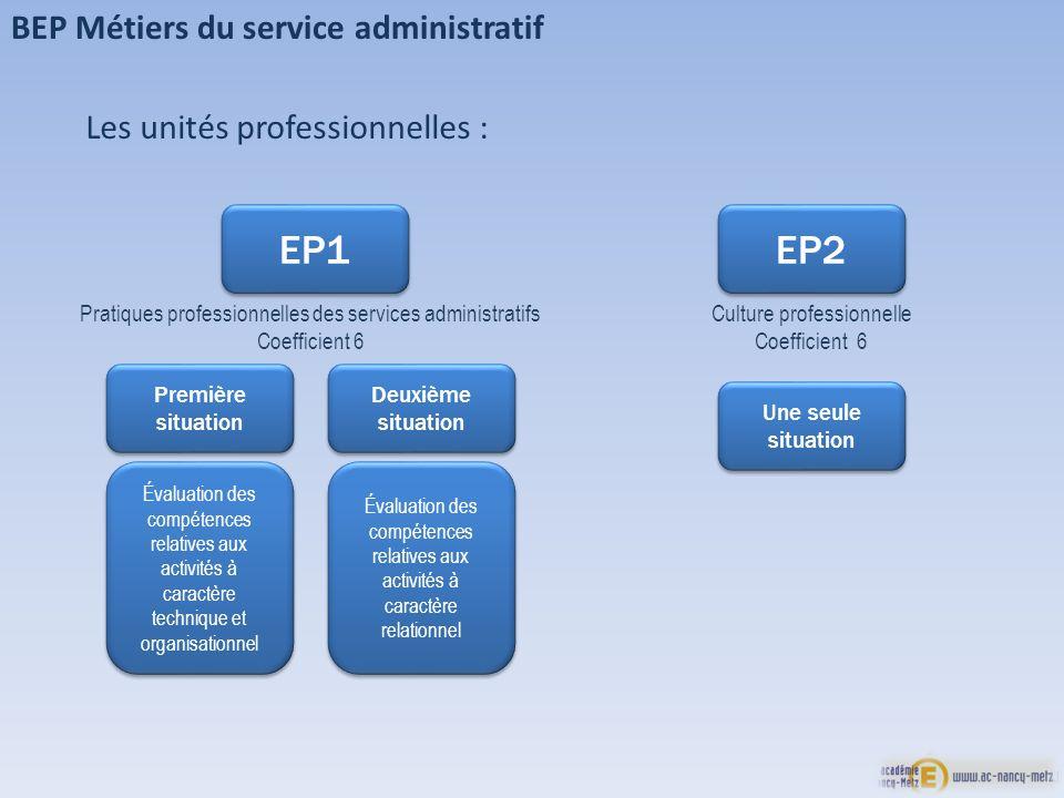 EP1 EP2 BEP Métiers du service administratif