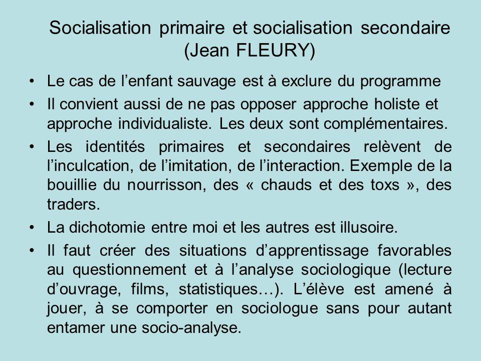 Socialisation primaire et socialisation secondaire (Jean FLEURY)