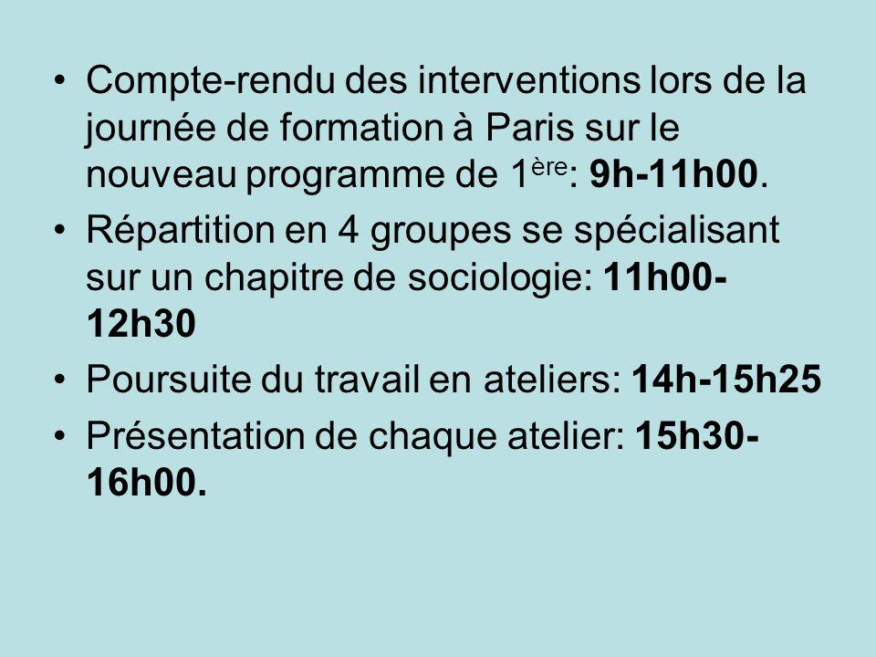 Compte-rendu des interventions lors de la journée de formation à Paris sur le nouveau programme de 1ère: 9h-11h00.