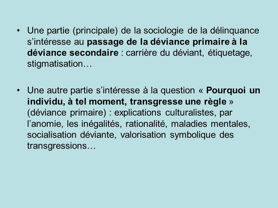 Une partie (principale) de la sociologie de la délinquance s'intéresse au passage de la déviance primaire à la déviance secondaire : carrière du déviant, étiquetage, stigmatisation…