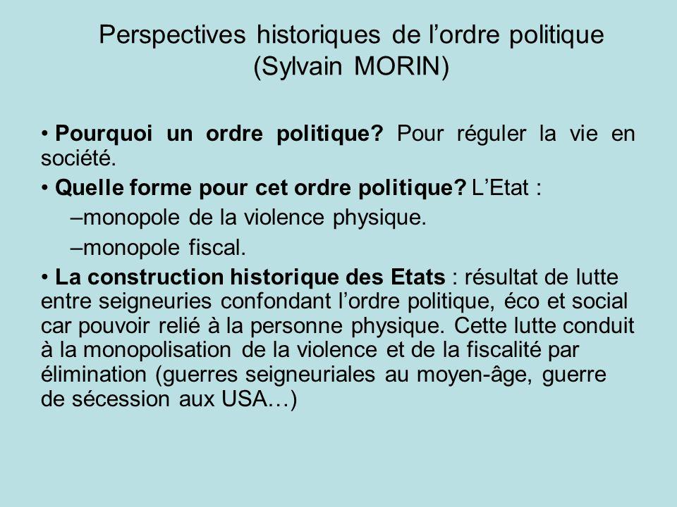 Perspectives historiques de l'ordre politique (Sylvain MORIN)