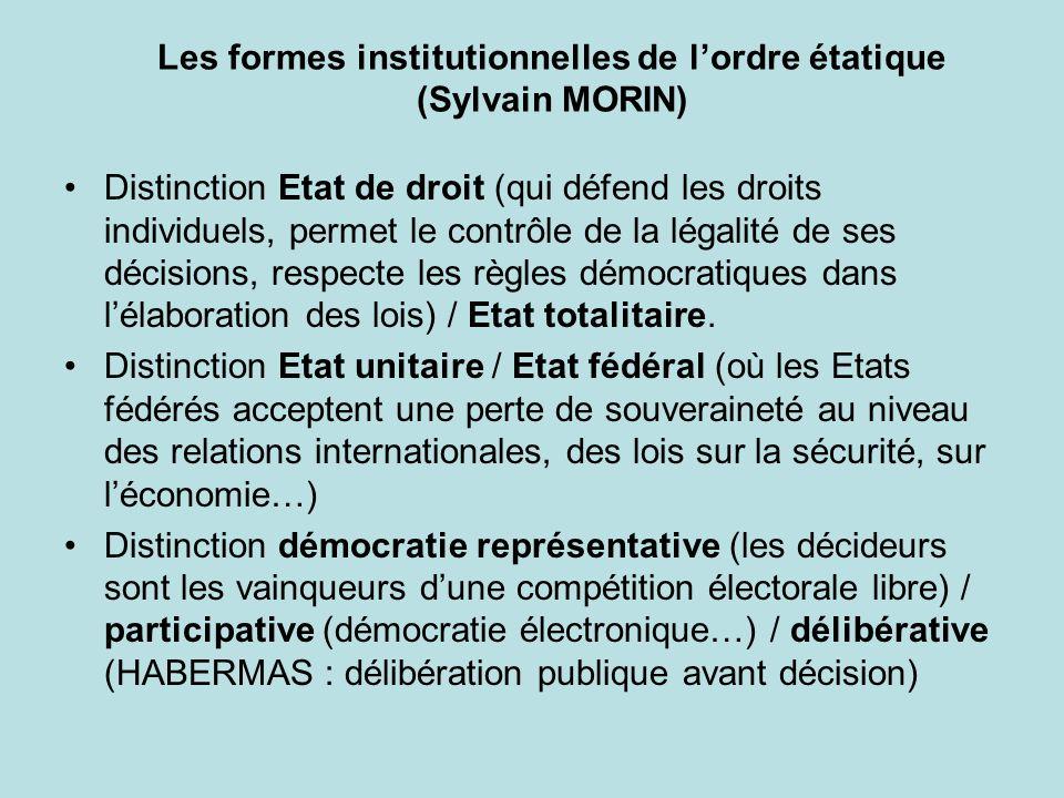 Les formes institutionnelles de l'ordre étatique (Sylvain MORIN)