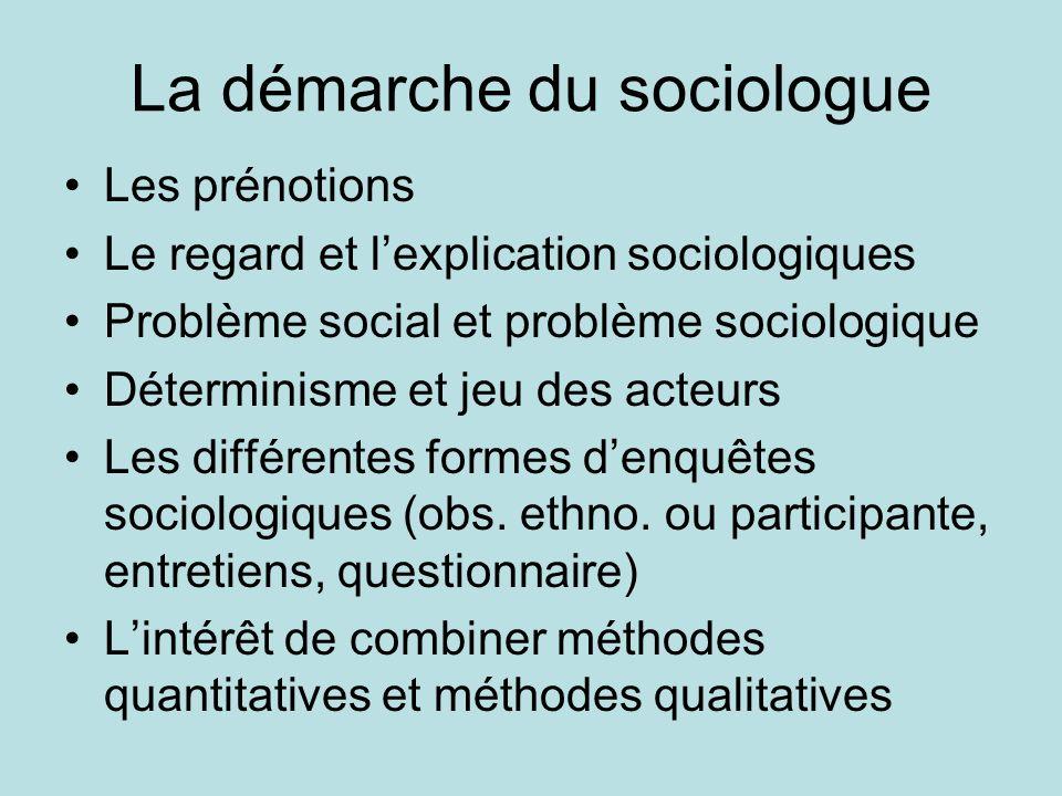 La démarche du sociologue