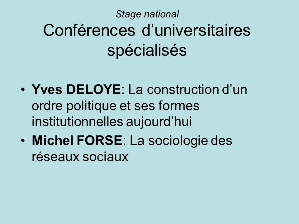 Stage national Conférences d'universitaires spécialisés