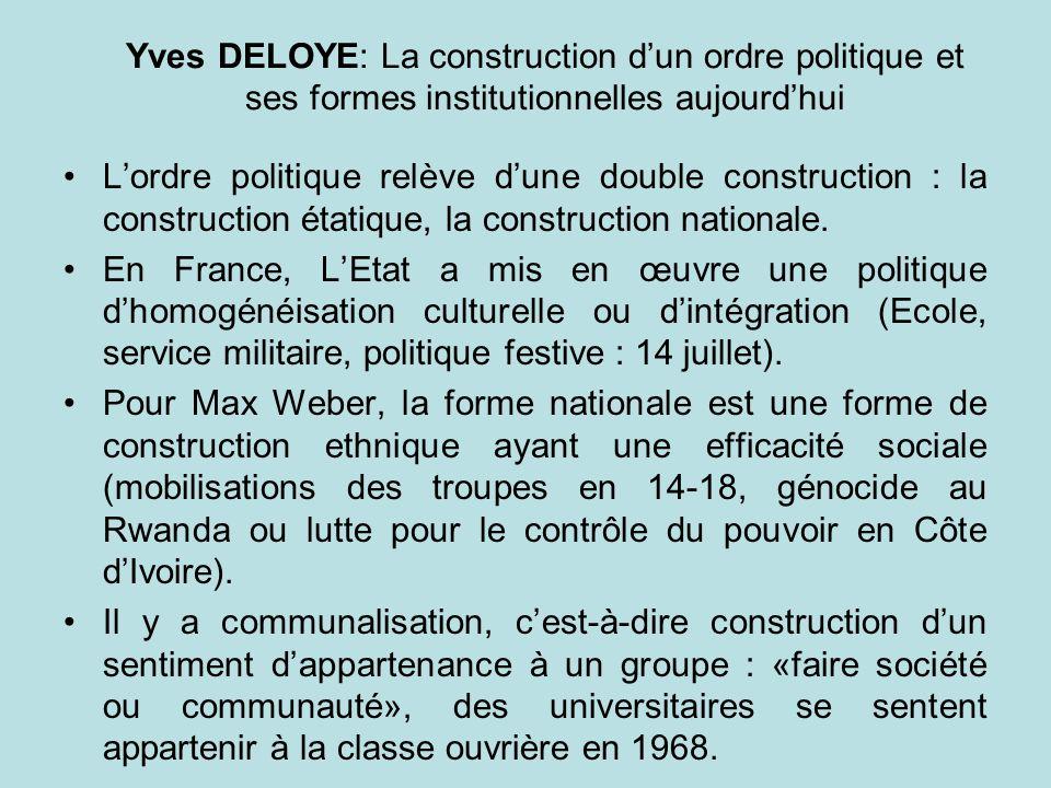 Yves DELOYE: La construction d'un ordre politique et ses formes institutionnelles aujourd'hui
