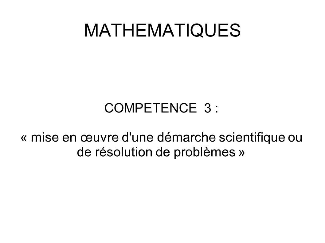 MATHEMATIQUES COMPETENCE 3 :