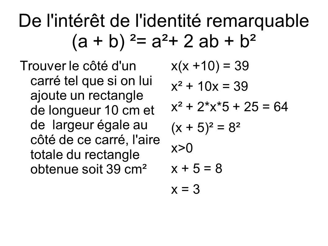 De l intérêt de l identité remarquable (a + b) ²= a²+ 2 ab + b²