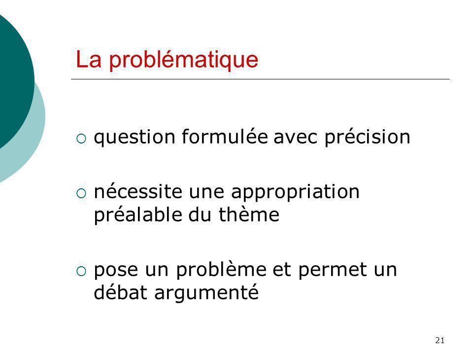 La problématique question formulée avec précision