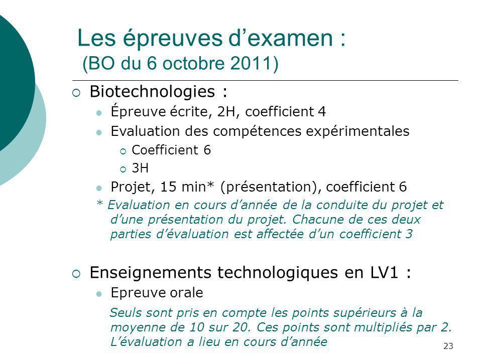 Les épreuves d'examen : (BO du 6 octobre 2011)