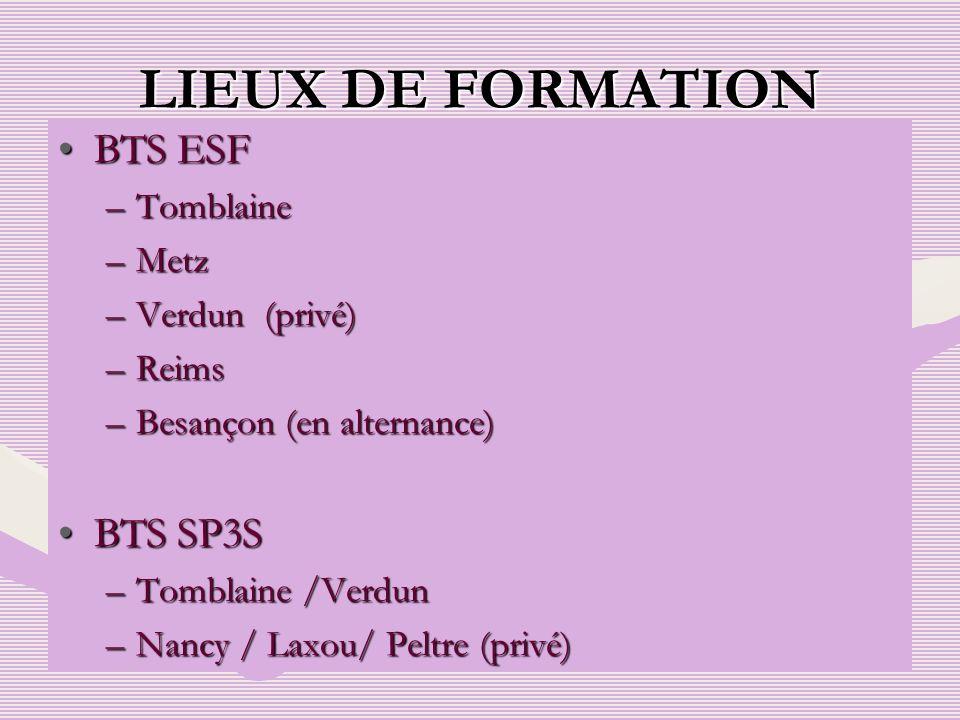 LIEUX DE FORMATION BTS ESF BTS SP3S Tomblaine Metz Verdun (privé)