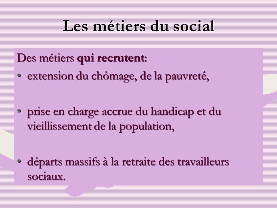 Les métiers du social Des métiers qui recrutent: