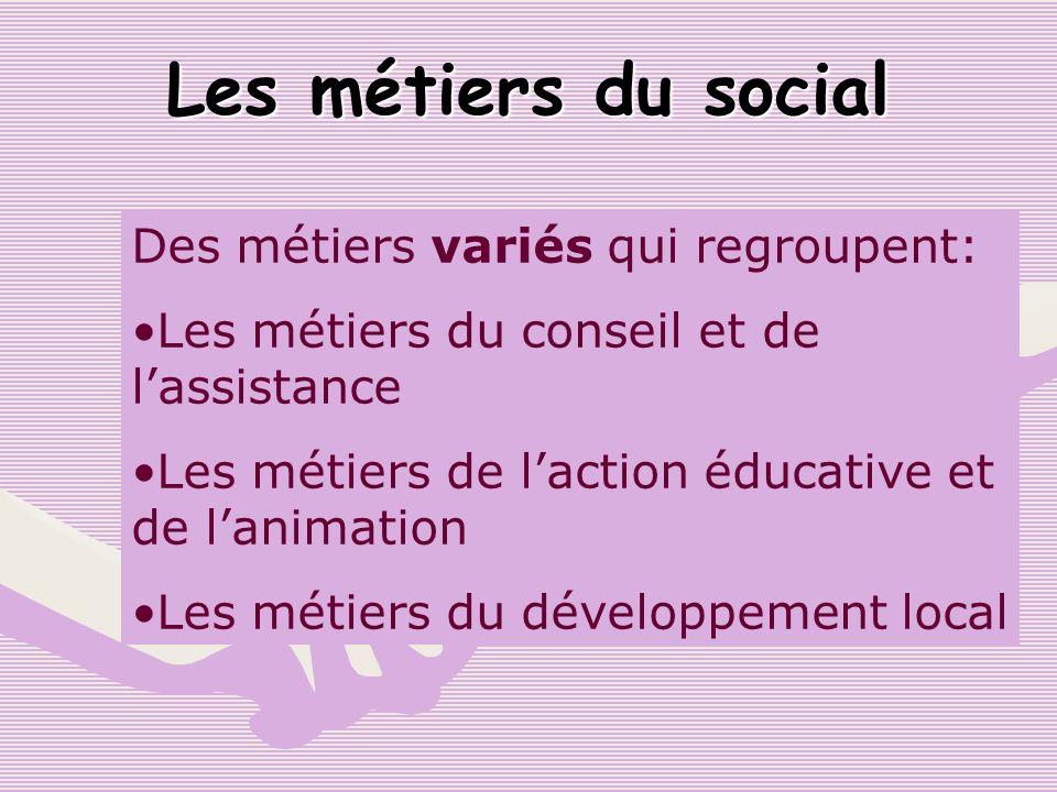 Les métiers du social Des métiers variés qui regroupent: