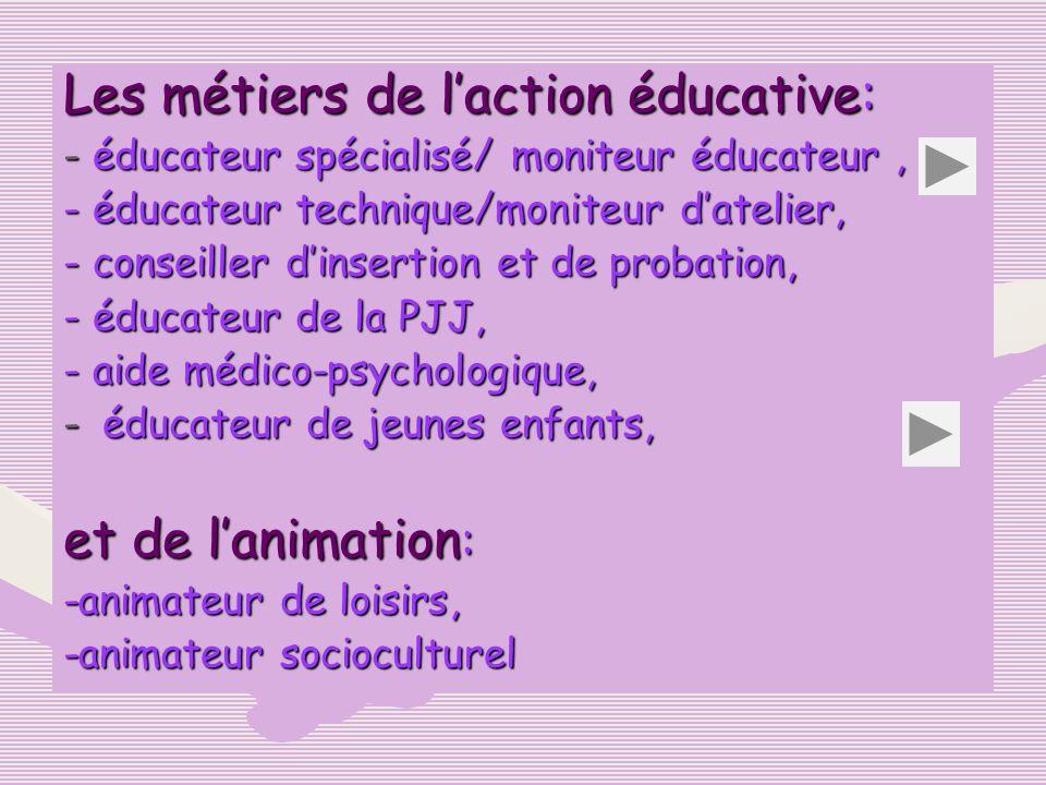 Les métiers de l'action éducative: