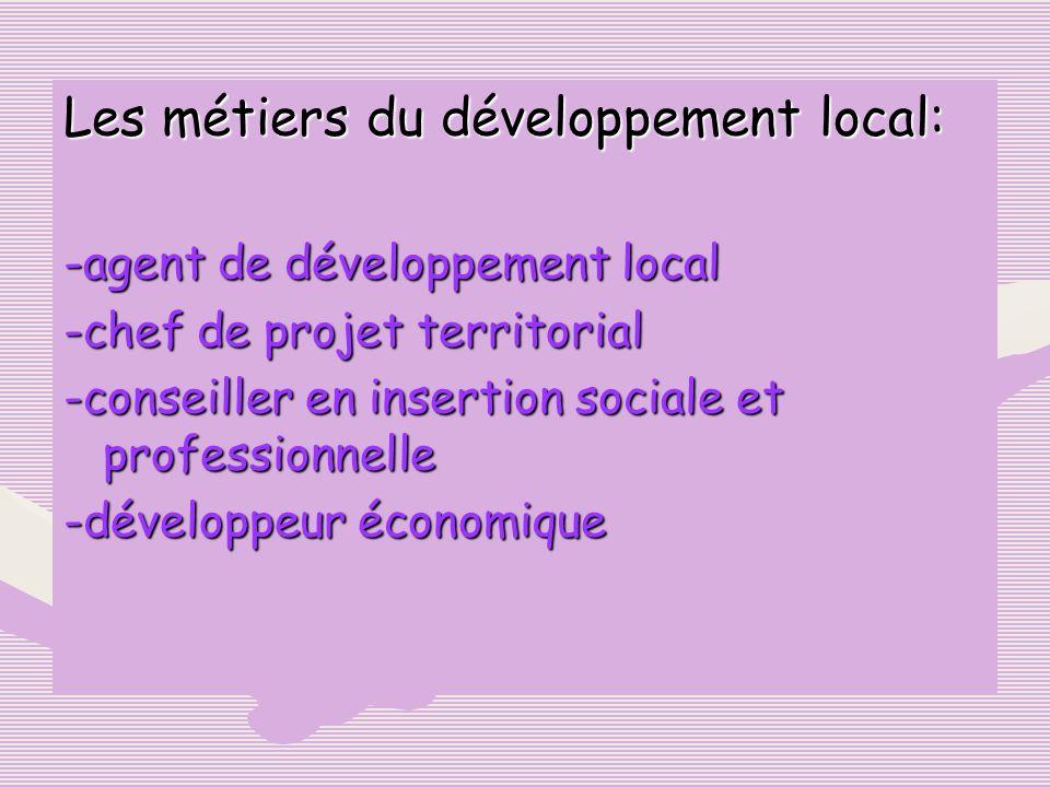 Les métiers du développement local: