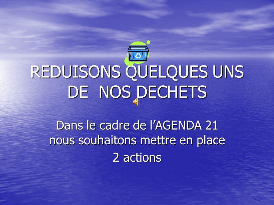 REDUISONS QUELQUES UNS DE NOS DECHETS
