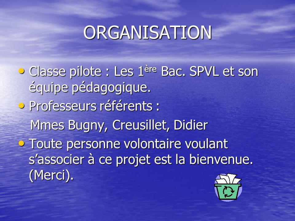 ORGANISATION Classe pilote : Les 1ère Bac. SPVL et son équipe pédagogique. Professeurs référents :