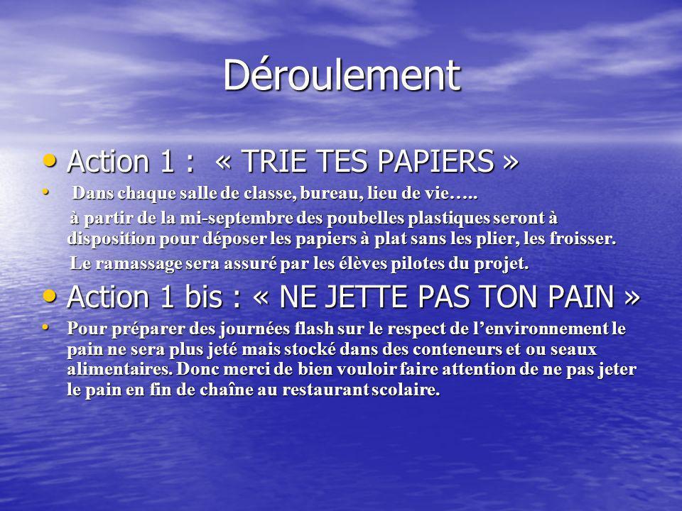 Déroulement Action 1 : « TRIE TES PAPIERS »
