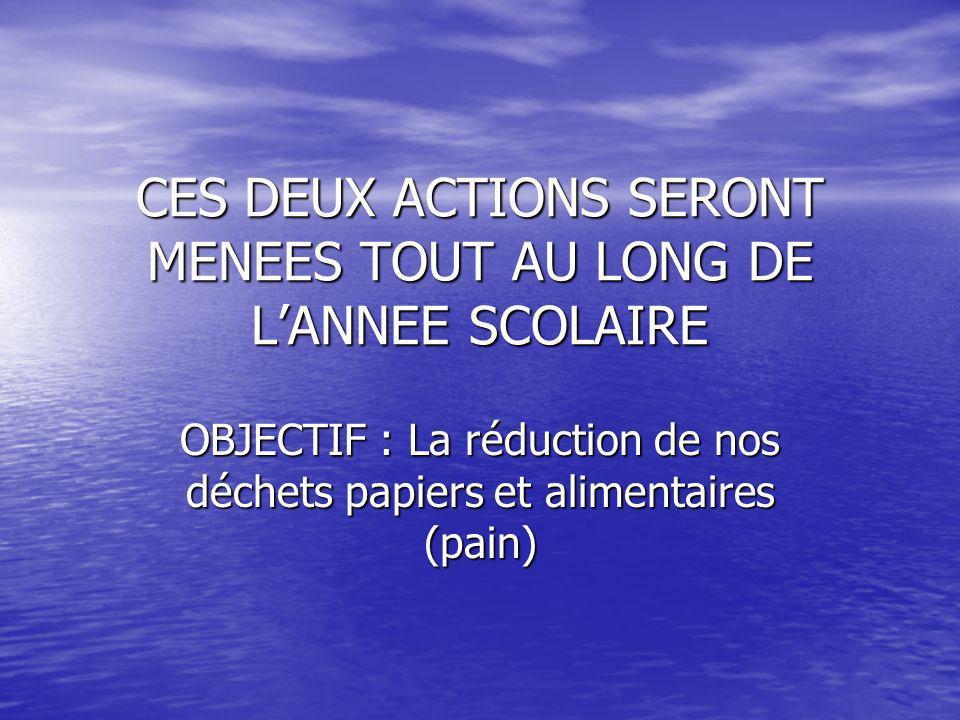 CES DEUX ACTIONS SERONT MENEES TOUT AU LONG DE L'ANNEE SCOLAIRE
