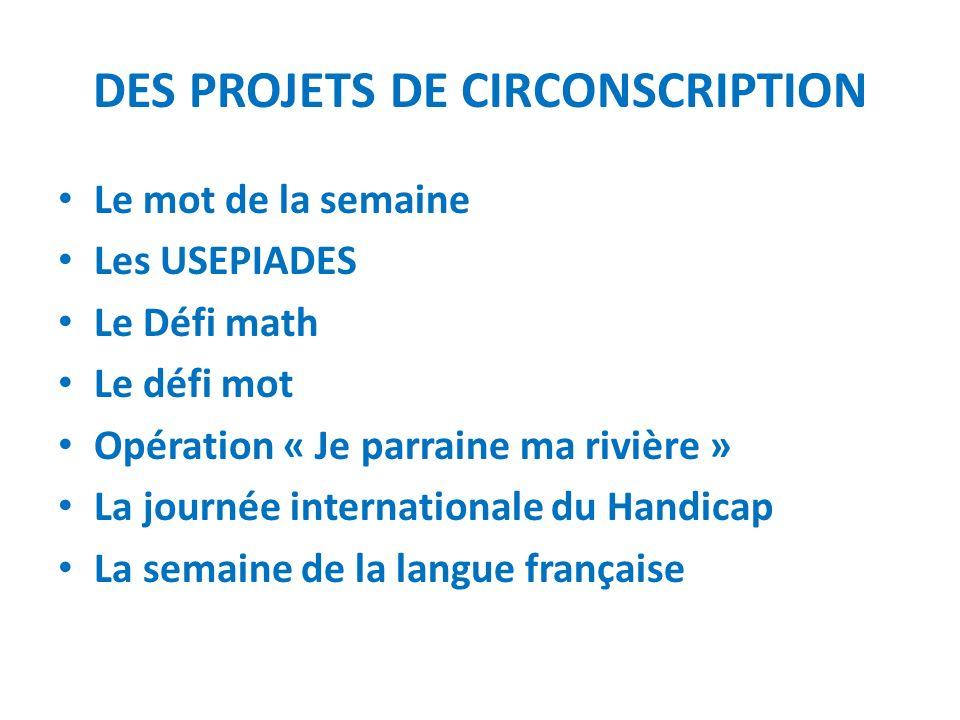 DES PROJETS DE CIRCONSCRIPTION