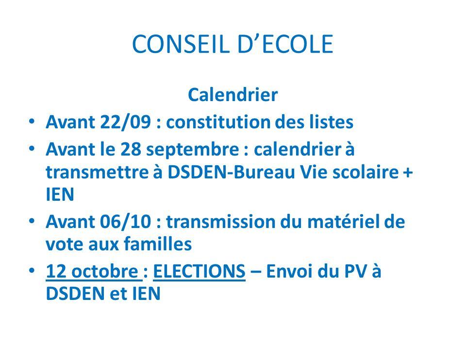 CONSEIL D'ECOLE Calendrier Avant 22/09 : constitution des listes