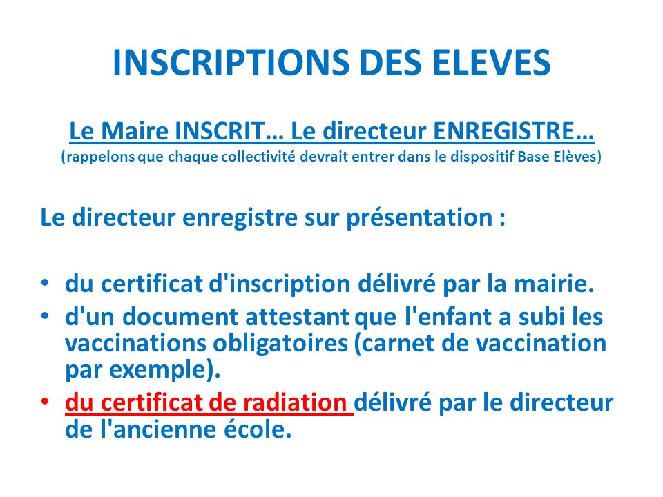 INSCRIPTIONS DES ELEVES