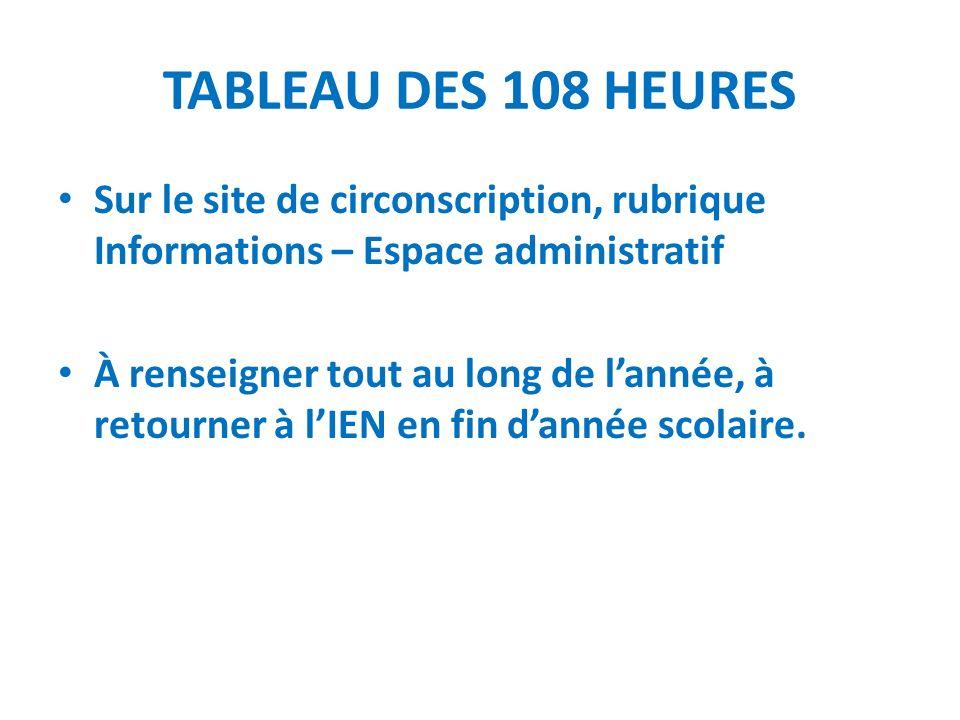 TABLEAU DES 108 HEURESSur le site de circonscription, rubrique Informations – Espace administratif.