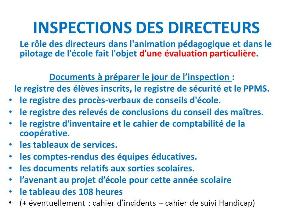 INSPECTIONS DES DIRECTEURS