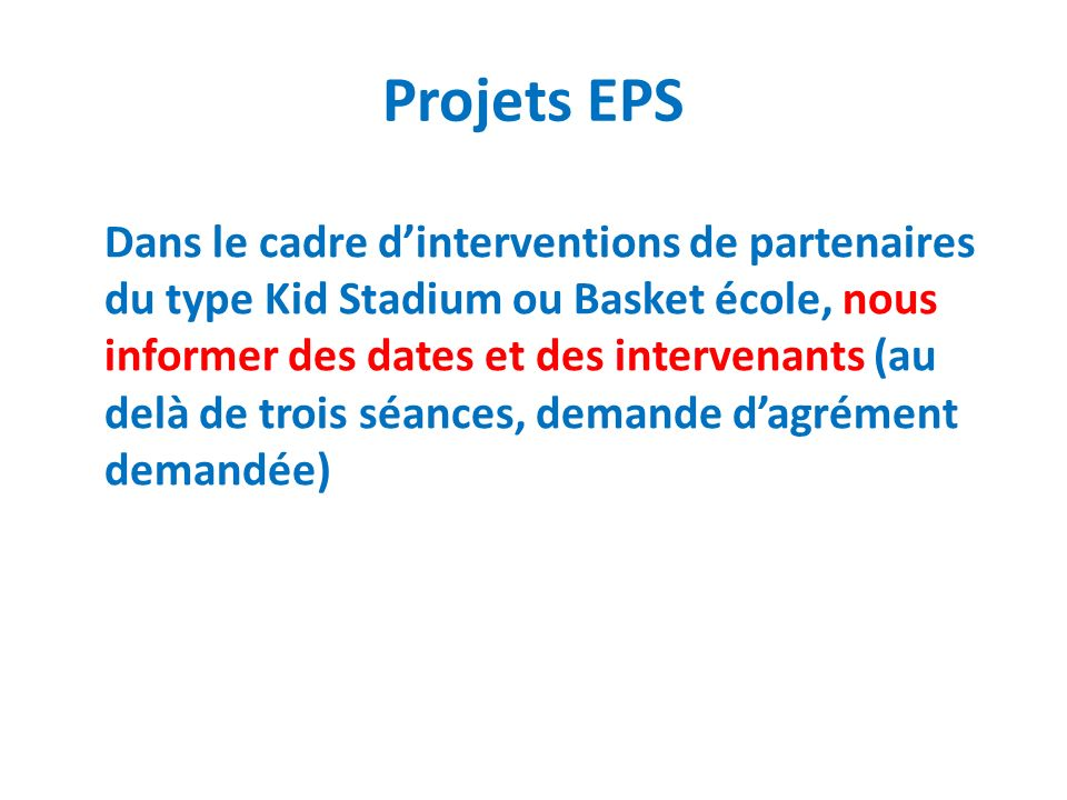 Projets EPS