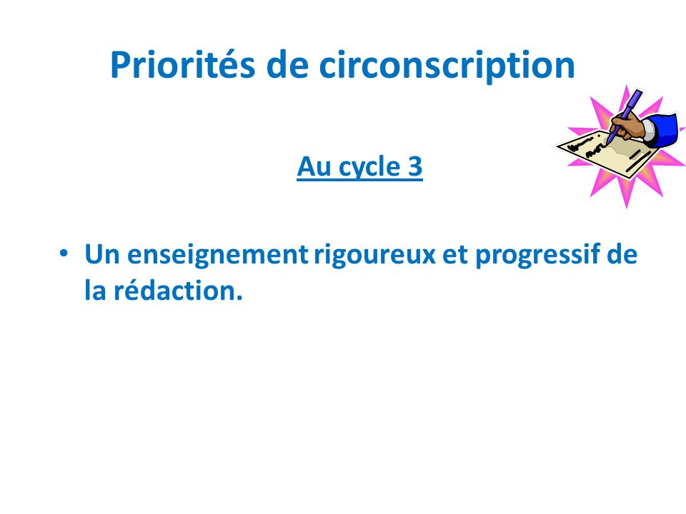Priorités de circonscription