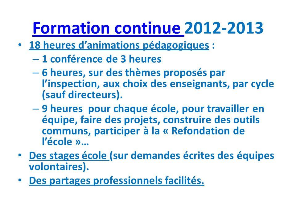Formation continue 2012-2013 18 heures d'animations pédagogiques :