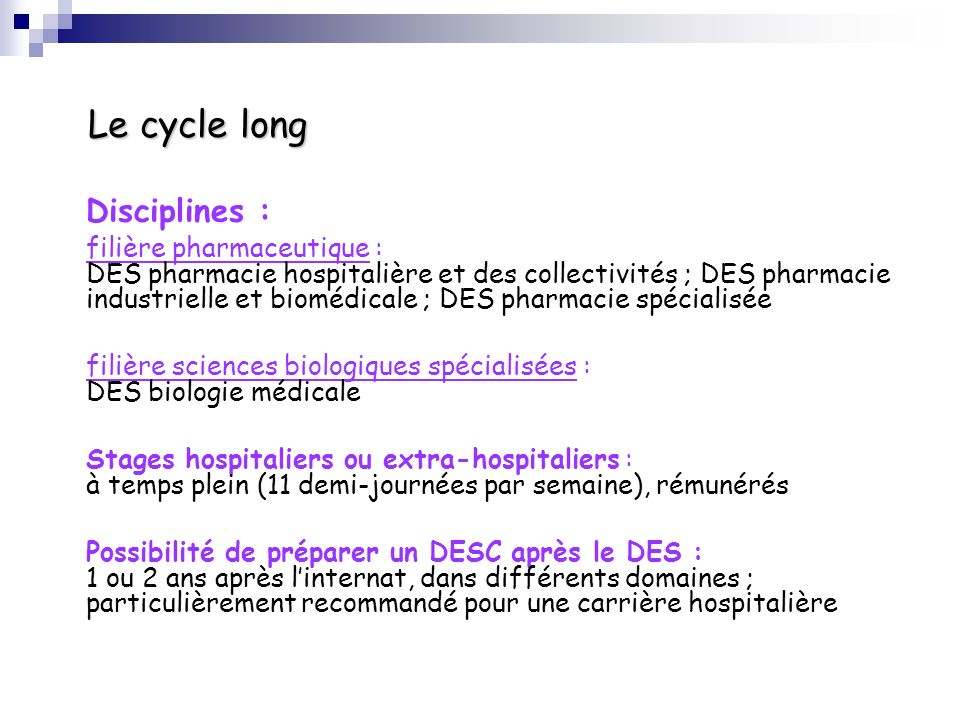 Le cycle long Disciplines :