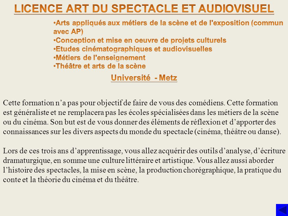 LICENCE ART DU SPECTACLE ET AUDIOVISUEL