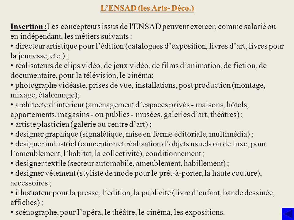 L'ENSAD (les Arts- Déco.)