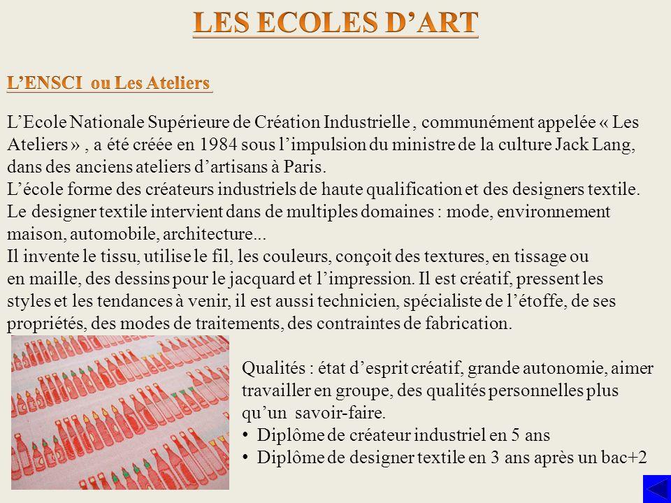 LES ECOLES D'ART L'ENSCI ou Les Ateliers