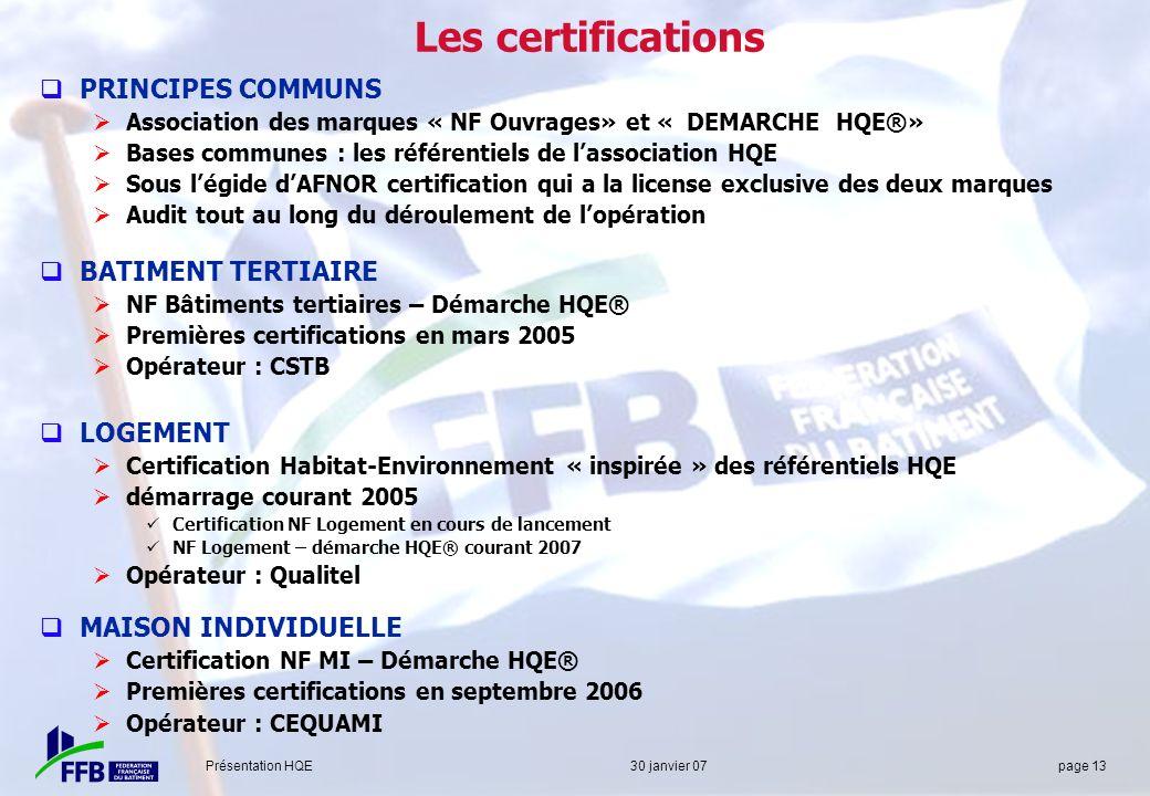 Les certifications PRINCIPES COMMUNS BATIMENT TERTIAIRE LOGEMENT