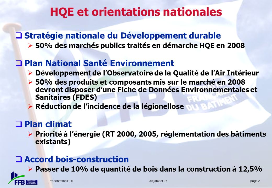 HQE et orientations nationales