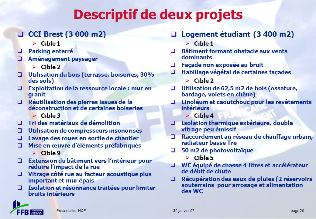 Descriptif de deux projets