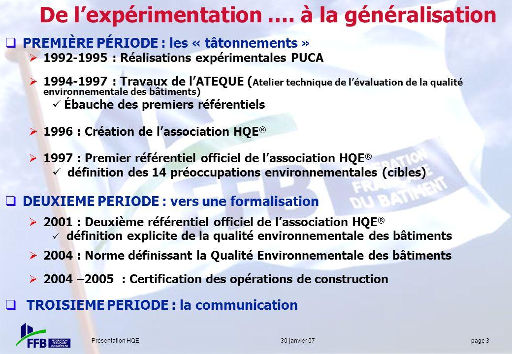 De l'expérimentation …. à la généralisation