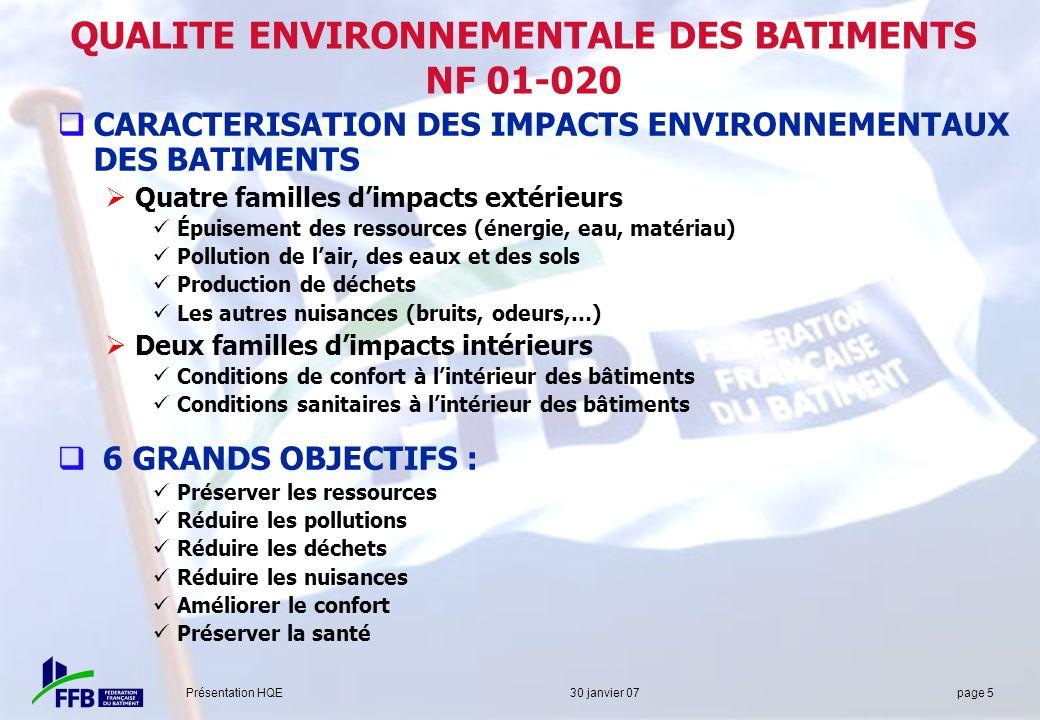QUALITE ENVIRONNEMENTALE DES BATIMENTS NF 01-020