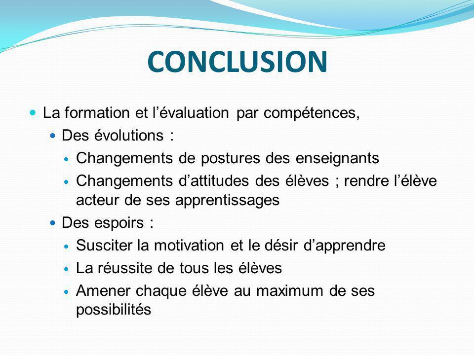 CONCLUSION La formation et l'évaluation par compétences,