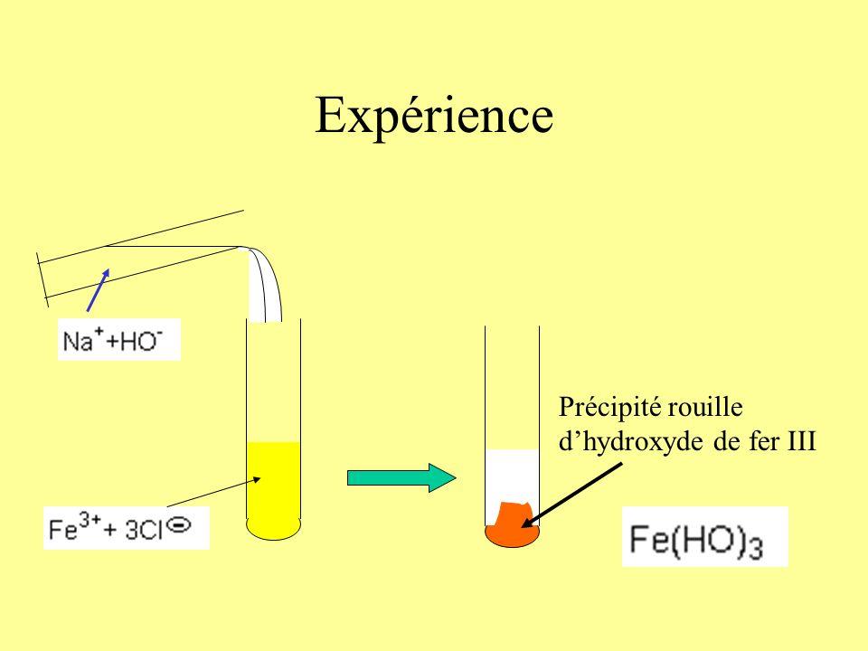 Expérience Précipité rouille d'hydroxyde de fer III