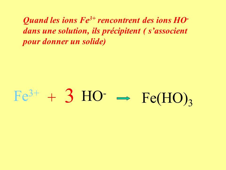 Quand les ions Fe3+ rencontrent des ions HO- dans une solution, ils précipitent ( s'associent pour donner un solide)