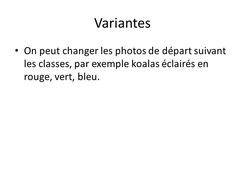 Variantes On peut changer les photos de départ suivant les classes, par exemple koalas éclairés en rouge, vert, bleu.