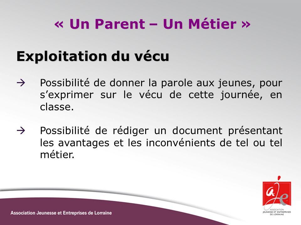 « Un Parent – Un Métier » Exploitation du vécu