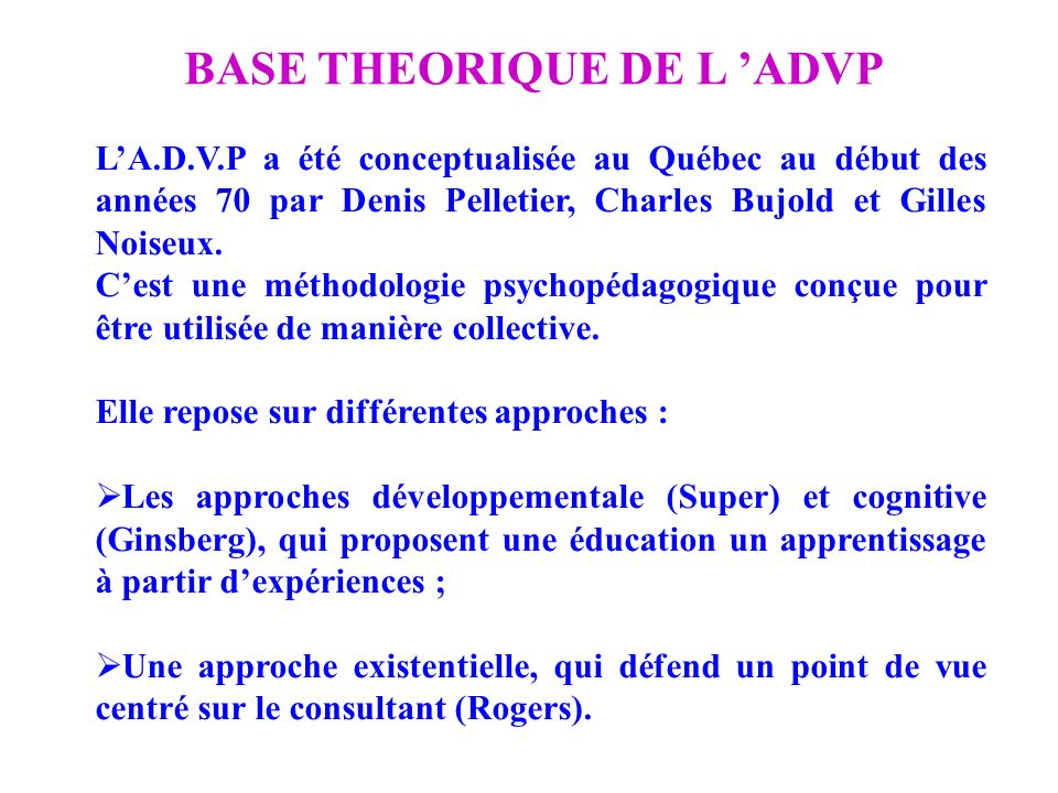 BASE THEORIQUE DE L 'ADVP