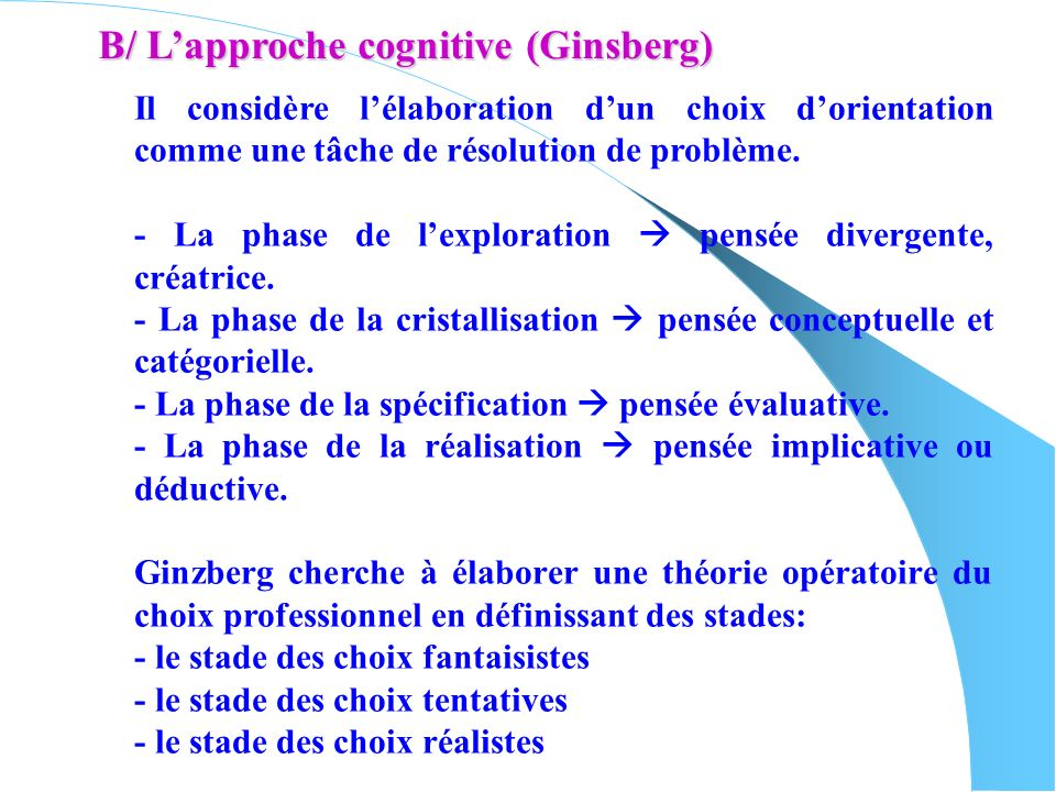 B/ L'approche cognitive (Ginsberg)