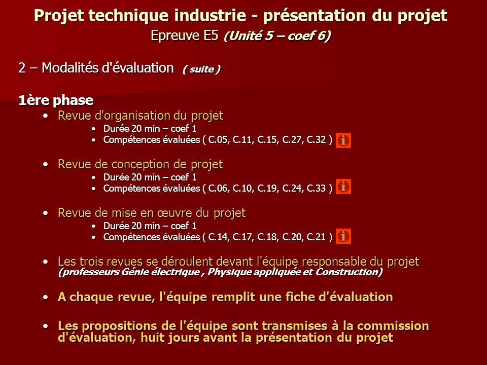 Projet technique industrie - présentation du projet Epreuve E5 (Unité 5 – coef 6)